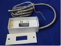 Overhead door magnetic contact with protected cable on leads for 120 volt magnetic door switch